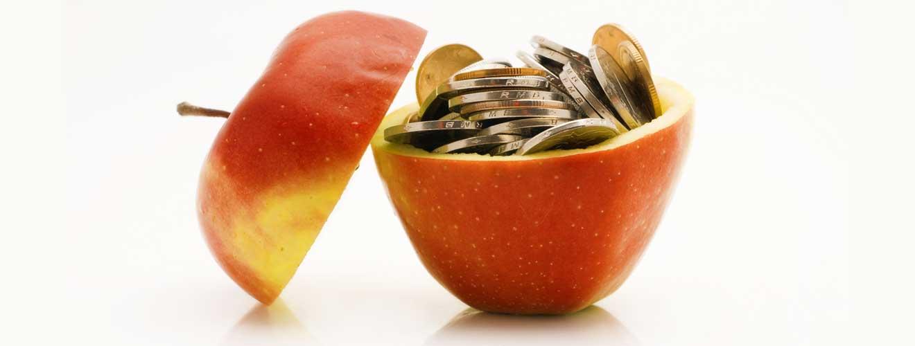 Die Kosten der Ernährungsberater Ausbildung  - Apfel gefüllt mit Münzen