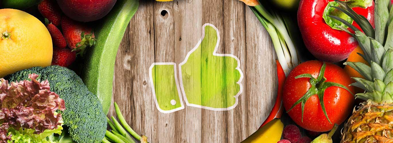 Der Ernährungsplan - Thump up mit gesundem Gemüse im Hintergrund