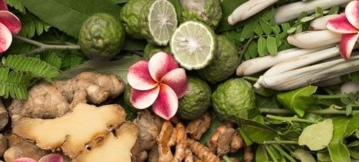 Verschiedene Ayurvedische Produkte sind zu sehen